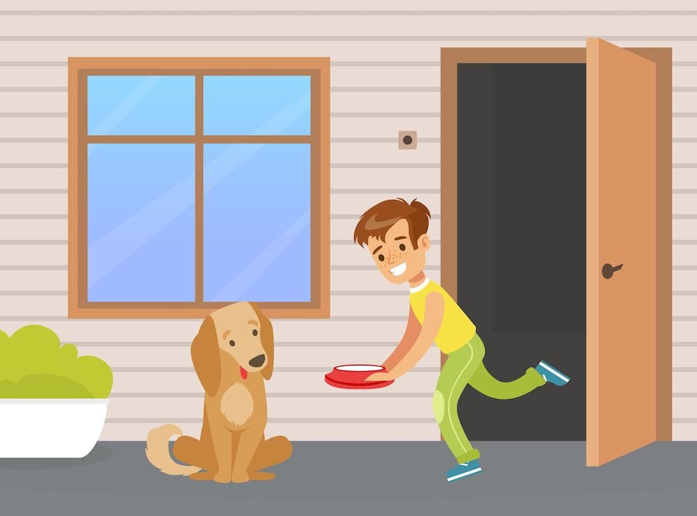 犬に餌をやる少年